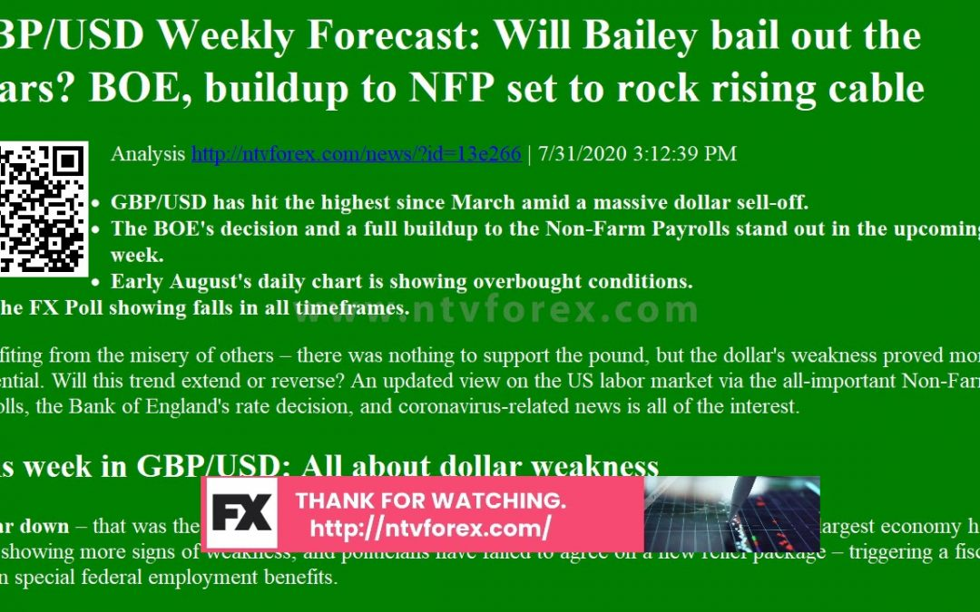 GBP USD Weekly Forecast Will Bailey bail out the bears BOE, buildup to NFP set to rock rising …